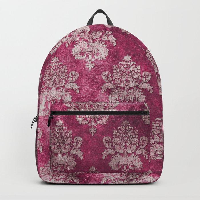 Old shabby vintage damask pink purple pattern Backpack