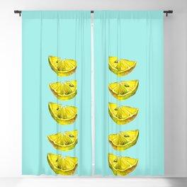 Lemon Slices Turquoise Blackout Curtain