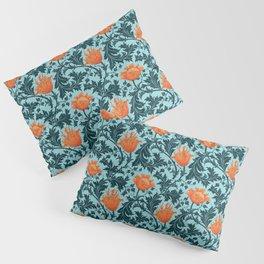 William Morris Anemone, Indigo Blue and Coral Pillow Sham