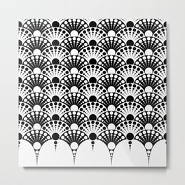 black and white art deco inspired fan pattern Metal Print