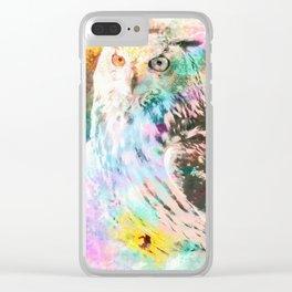 Majestic Eagle Owl Digital Watercolor Clear iPhone Case
