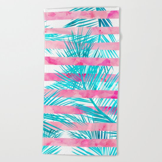 Modern pink turquoise tropical palm tree watercolor stripes pattern Beach Towel
