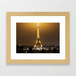 Eiffel Tower at Night. Framed Art Print