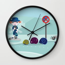 police woman take tickets to the snail Wall Clock