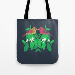 Northern Cardinals + Honeysuckle Tote Bag