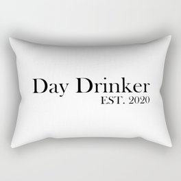 Day Drinker Established 2020 Humorous Minimal Typography Rectangular Pillow