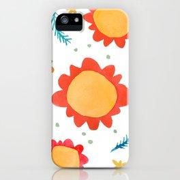 Painted Flowers orange iPhone Case