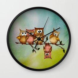 Owl crashed Wall Clock