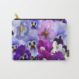 VARIEGATED PURPLE PANSY FLOWERS ART Carry-All Pouch