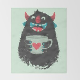 Demon with a cup of coffee Throw Blanket