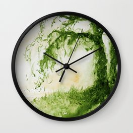 Green Sap Green WaterColour Tree by CheyAnne Sexton Wall Clock