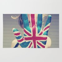 british flag Area & Throw Rugs featuring british flag love by Starr Shaver