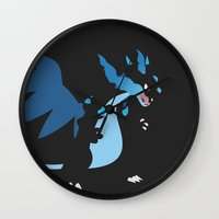 charizard Wall Clocks featuring Mega Charizard X PKMN by Rebekhaart