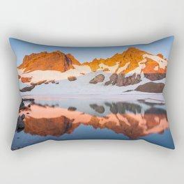Broken Top Mountain Sunrise at Alpine Lake Rectangular Pillow