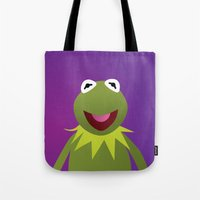 kermit Tote Bags featuring Kermit - Muppets Collection by Bryan Vogel