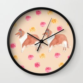 Collie with flower Wall Clock