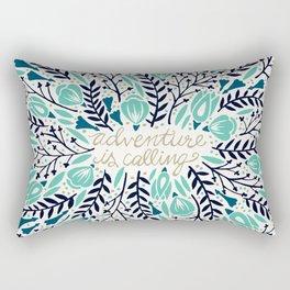 Adventure is Calling – Navy & Mint Palette Rectangular Pillow