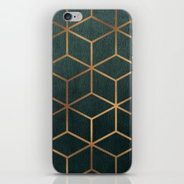 Dark Teal and Gold - Geometric Textured Gradient Cube Design iPhone Skin