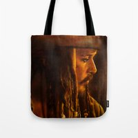 jack sparrow Tote Bags featuring Captain Jack Sparrow by Rosita Maria