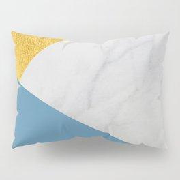 Carrara marble with gold and Pantone Niagara color Pillow Sham