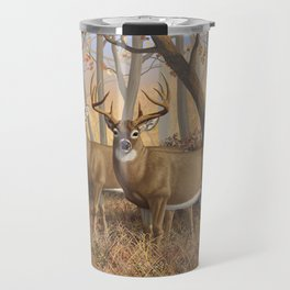 Whitetail Deer Trophy Buck and Doe in Autumn Travel Mug