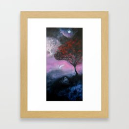 Owl and Moon Painting Framed Art Print