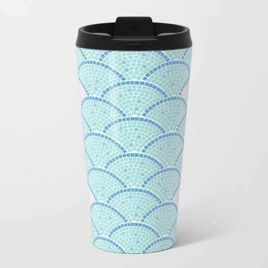 Mosaic Archs - Mint & Rose Metal Travel Mug