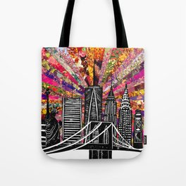 Linocut New York Blooming Tote Bag