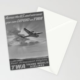 retro retro Fast Frequent Flights poster Stationery Cards