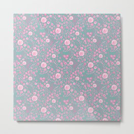 Abstract pink garden pattern in cian background Metal Print
