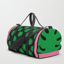 Philodendrons Pattern - Green on Black Duffle Bag