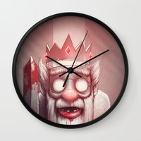 king Wall Clocks featuring King of Doom by Dr. Lukas Brezak