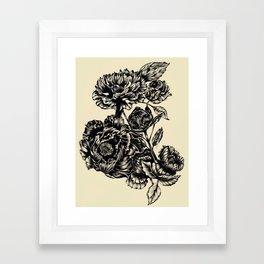 Peonies, black & white Framed Art Print