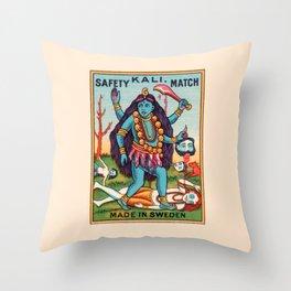 Kali Hindu Goddess Devi Shakti Matches Vintage Graphic Throw Pillow
