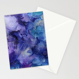 Abstract Ink in Purple Pink & Green Stationery Cards