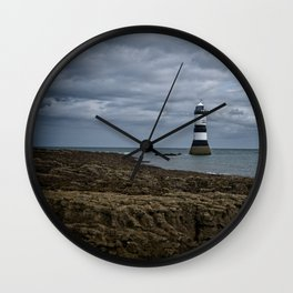 Storm Clouds Over The Trwyn Du Lighthouse Wall Clock