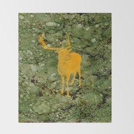 Deer on Green Camo Throw Blanket