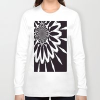 blankets Long Sleeve T-shirts featuring Black & White Modern Flower by 2sweet4words Designs