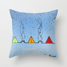 Three Little Tents Went Camping Throw Pillow