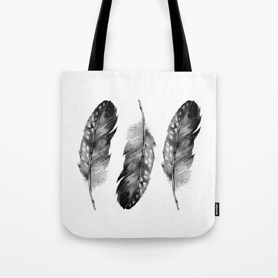 Three Feathers Black And White II Tote Bag