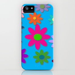 Flower Power - Blue Background - Fun Flowers - 60's Hippie Style iPhone Case