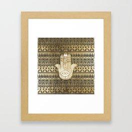 Faux Print Gold Hamsa Hand and Tribal Aztec Framed Art Print