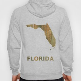 Florida map outline Brown green colored watercolor pattern Hoody
