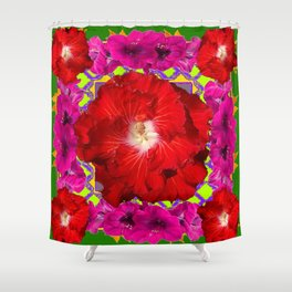Tropical Red Hibiscus & Fuchsia Florals Green Color Shower Curtain