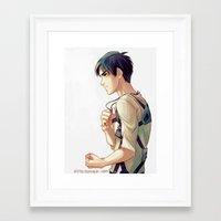 viria Framed Art Prints featuring eren jaeger by viria
