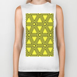 Yellow triangular pattern Biker Tank