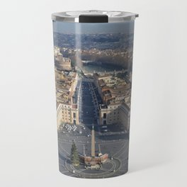 Piazza san pietro with its surroundings and whole rome city view in a sunny day from up Travel Mug