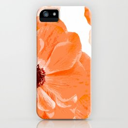 Beautiful Coral Color Flowers White Background #decor #society6 #buyart iPhone Case
