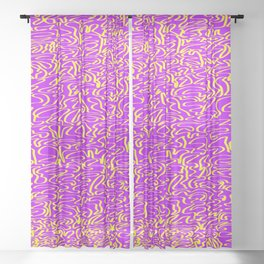 ribbon, yellow on purple Sheer Curtain