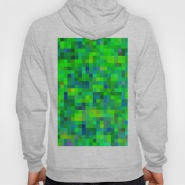 geometric square pixel pattern abstract in green and blue Hoody